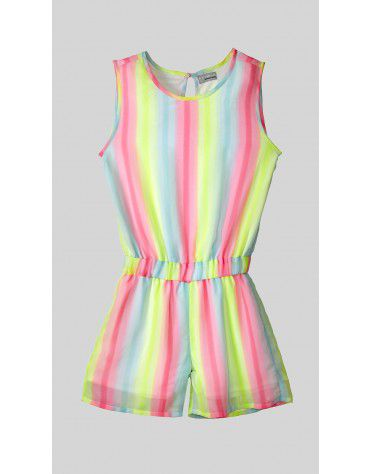 Beyond Clouds - Teen Girls Rainbow Stripe Romper