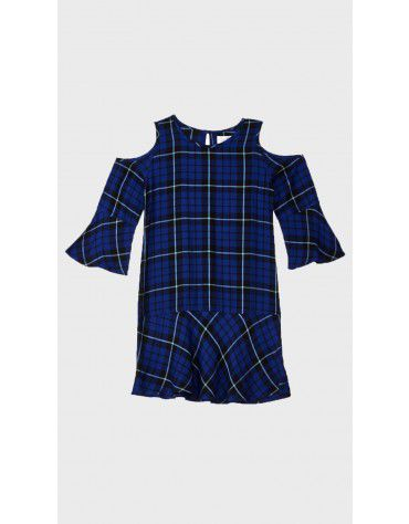 Beyond Clouds - Teen Girls Cold Shoulder Plaid Dress