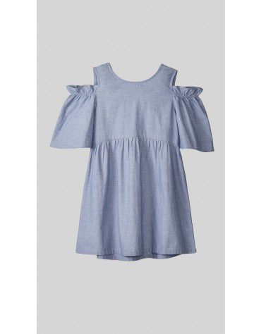 Beyond Clouds - Teen Girls Back Bow Cold shoulder Dress