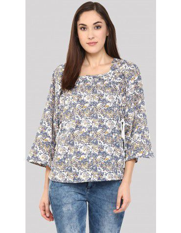 Sbuys - Printed Floral Peasant Top