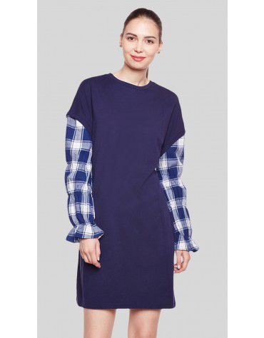 SbuyS  - Plaid Sleeve Midi Dress