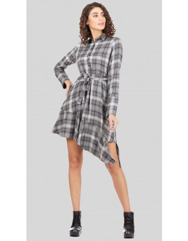 SbuyS - Asymmetric Plaid Shirt Dress