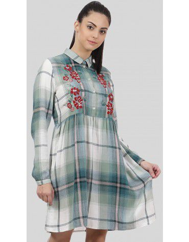 SbuyS - Embroidered Plaid Midi Dress
