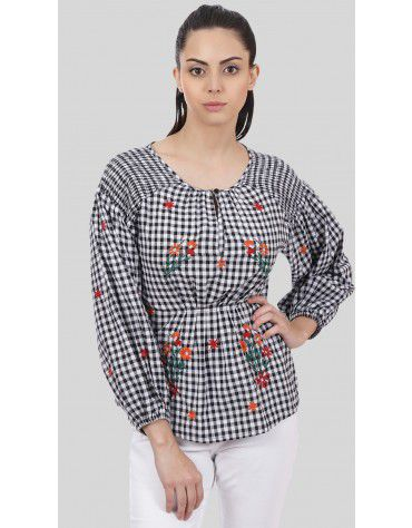 SbuyS  - Embroidered Gingham Blouse