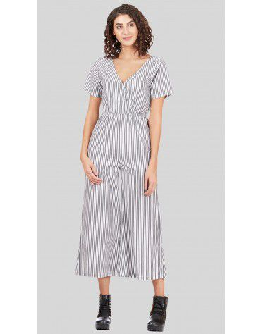 SbuyS - V Neck Striper Jumpsuit