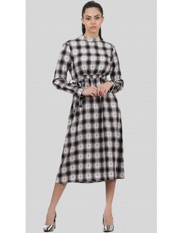 SbuyS - Clinched Waist Plaid Midi Dress