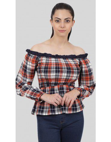 SbuyS - Smocked Plaid Off Shoulder Top