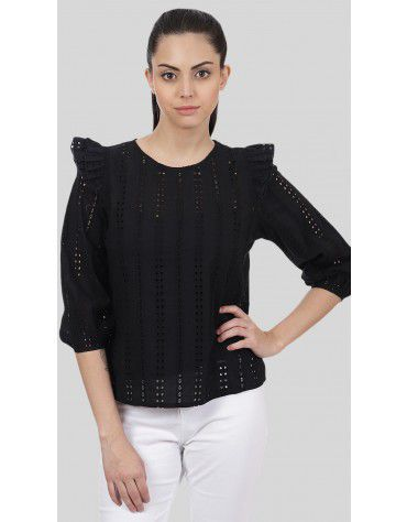 SbuyS - Schiffli Ruffled Blouse