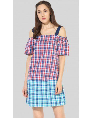 SbuyS - Plaid Cold Shoulder Midi Dress