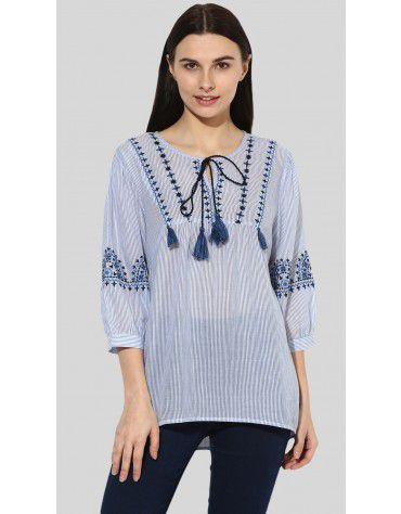 SbuyS - 3/4 Sleeve Embroidered Peasant Top