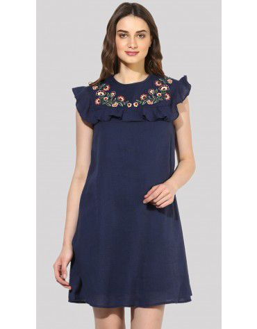 SbuyS - Sleeveless Embroidered Ruffle Midi Dress