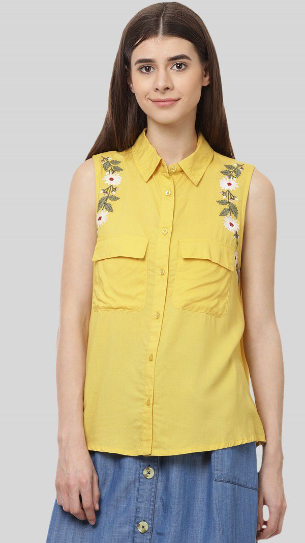 SbuyS - Floral Embroidery Sleeveless Shirt