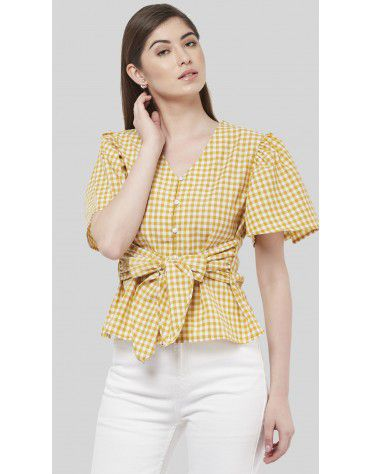 SbuyS - Front Wrap Gingham Blouse