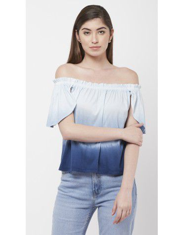 SbuyS - Blue Ombre Off Shoulder Top
