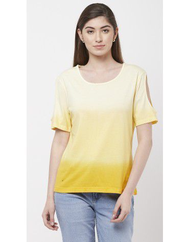 SbuyS - Yellow Ombre Cold Shoulder Top