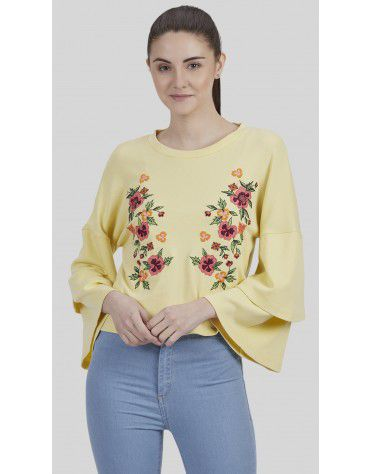 SbuyS - Floral Embroidered Boxy Top