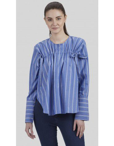 SbuyS - Front Tie Up Stripe Peasant Blouse