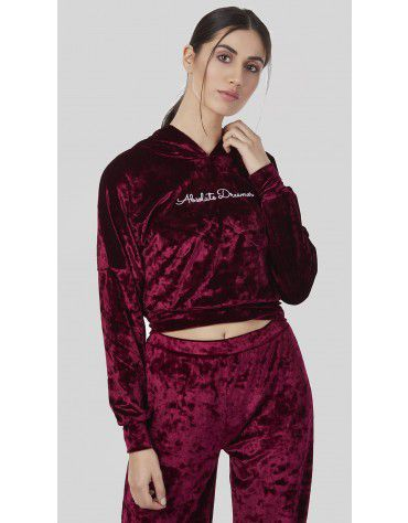 SbuyS - Hooded Cropped Velvet Sweatshirt