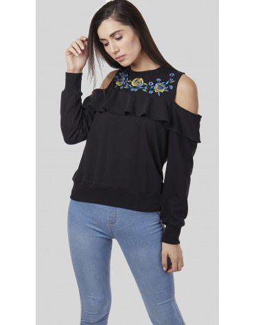 SbuyS - Cold Shoulder Floral Sweatshirt