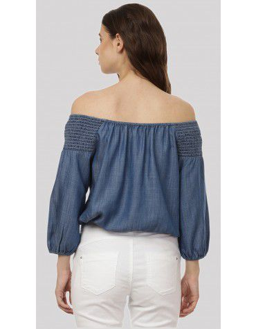 SbuyS - Smocked Denim Off Shoulder Top