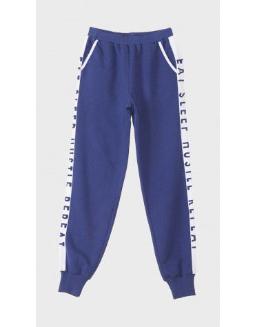 Beyond Clouds - Teen Girls Blue Slogan Printed Jogger