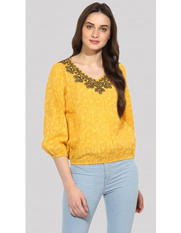 SbuyS  - V-Neck Embroidered Blouse