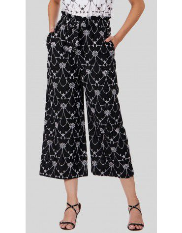 SbuyS  - Embroidered Paperbag Waist Wide Leg Co-ords Trousers Set