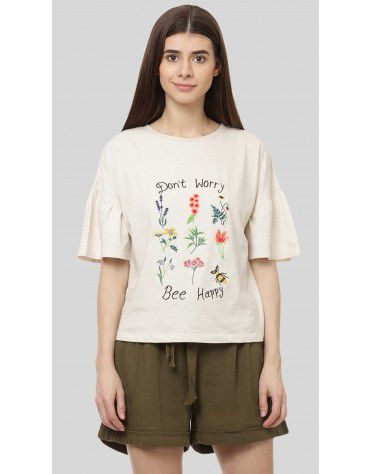 SbuyS - Floral Embroidery Slogan T-Shirt