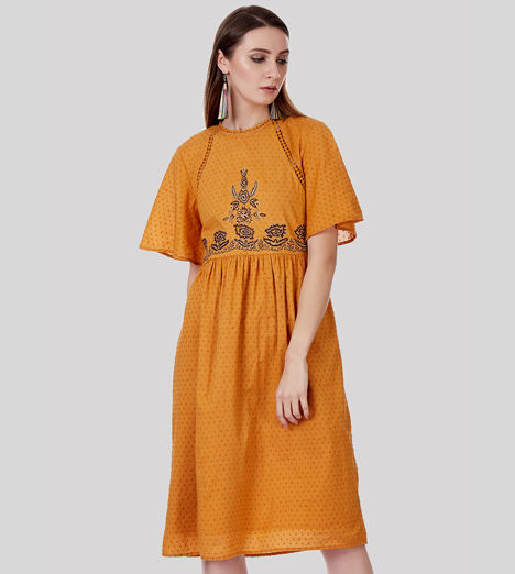 SbuyS - Flutter Sleeve Embroidered Midi Dress