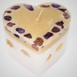 Large Heart Candle White and Tan