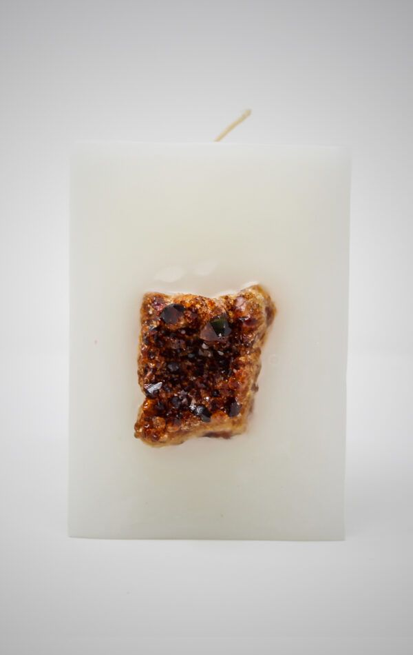 White Rectangle Candle with CItrine