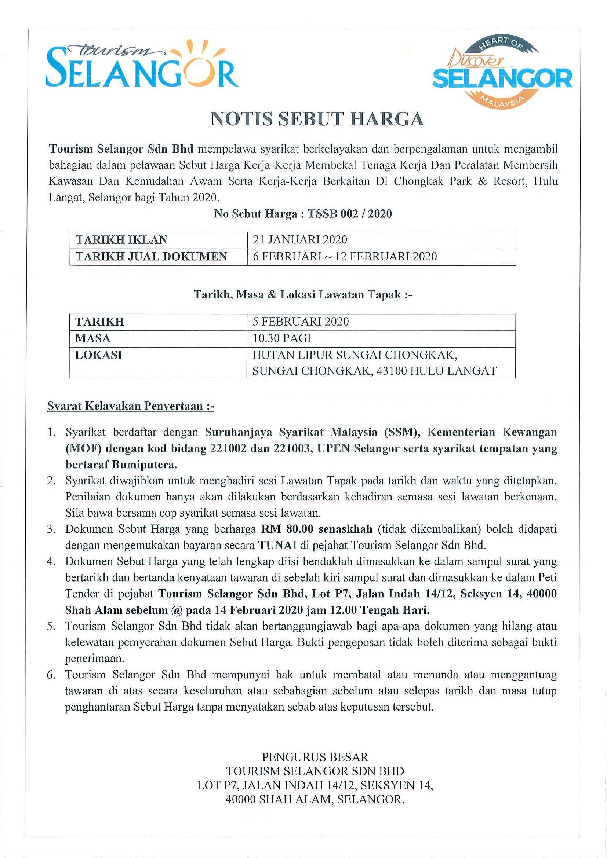 Tender Notice: TSSB 002/2020 3