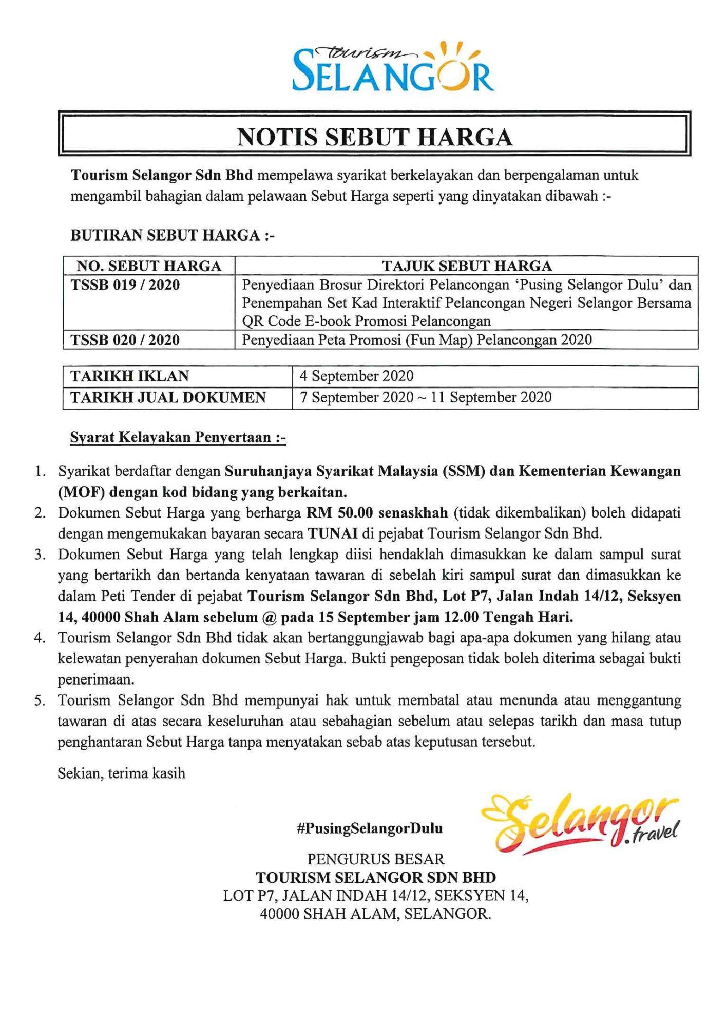 Tender Notice : TSSB 019, 020 / 2020 1
