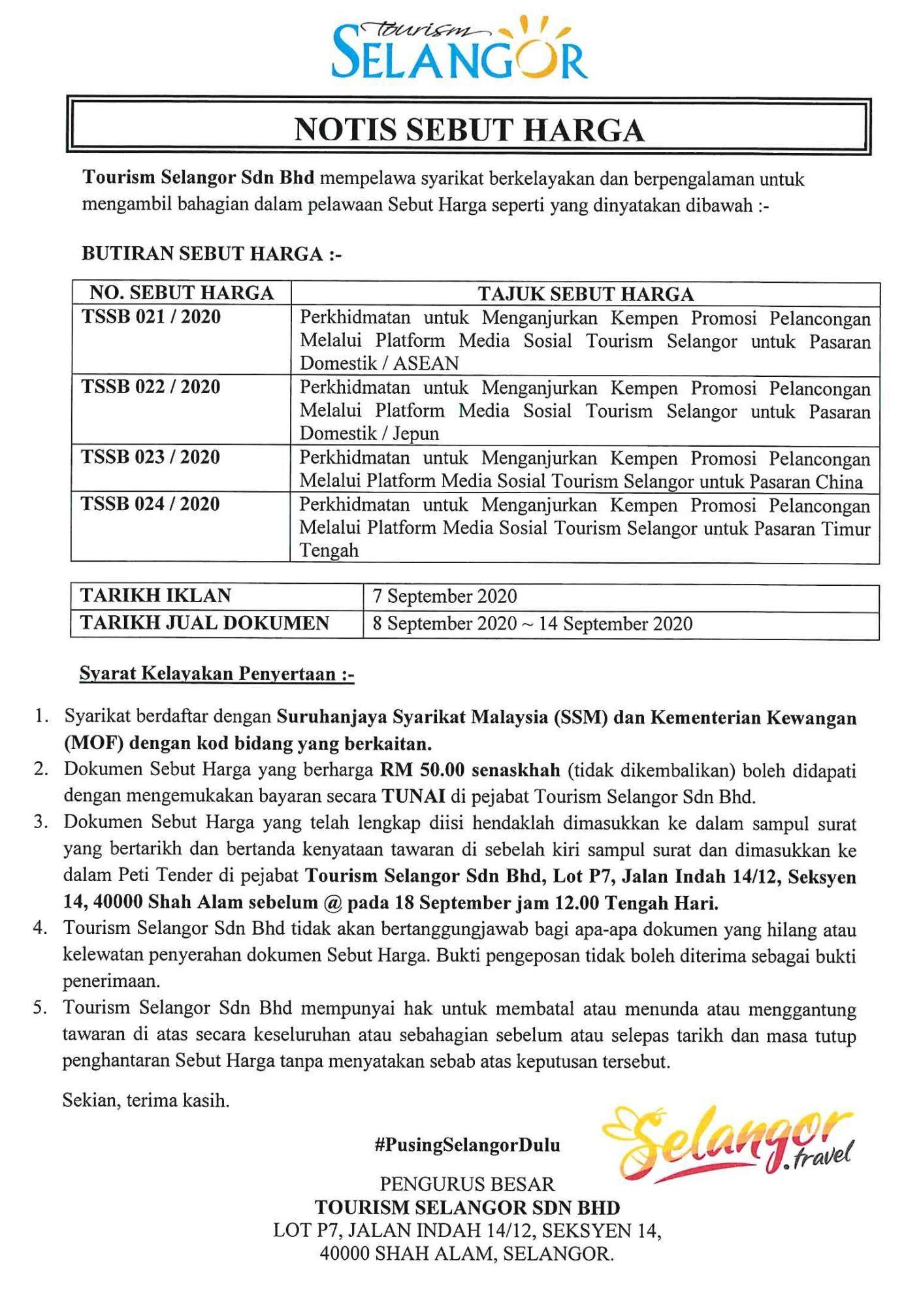 Tender Notice : TSSB 021, 022, 023, 024 / 2020 1