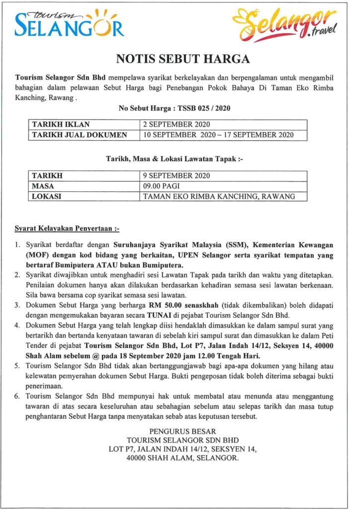 Tender Notice : TSSB 025, 026 / 2020 1