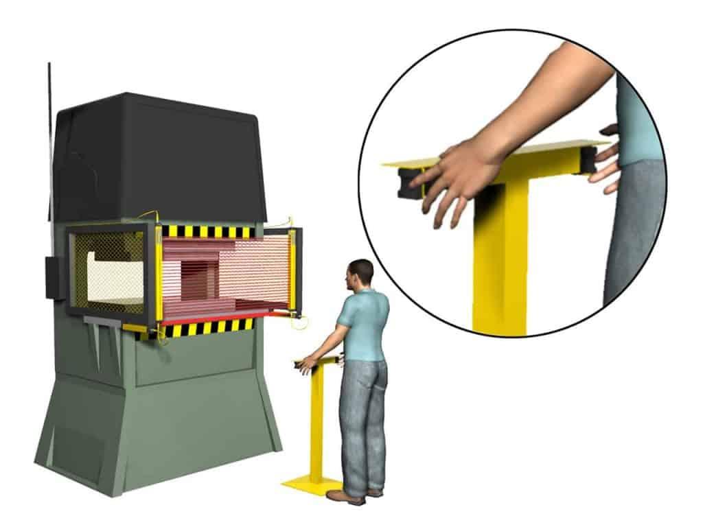 Botões bimanuais, parada de máquina, operador, cortina de luz, troca de peça, máquina, segurança, NR12, monitoramento de controle, botão ótico de segurança.