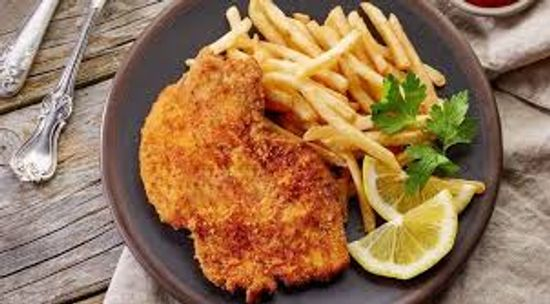 Fer à Cheval - Servido Menu (Takeaway, Delivery) - Viennese veal cutlet, served with vegetables and fries or pasta or rice or gratin.
