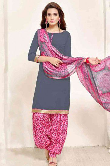Grey color Poly Crepe Patiala Salwar Kameez