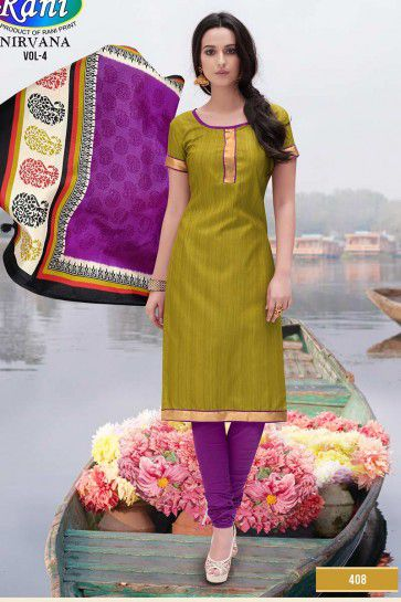 Olive Bhagalpuri Silk Churidar Suit