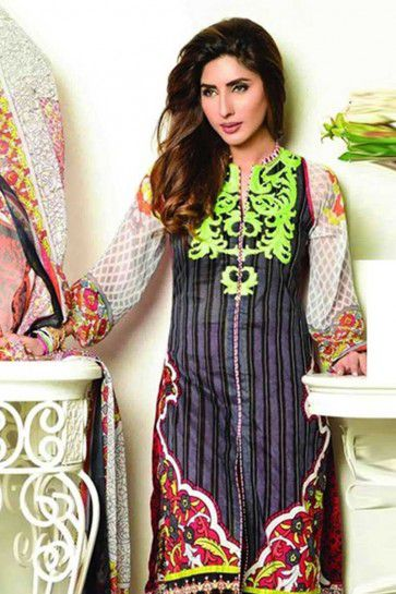 Black Pure Lawn Cotton Salwar Kameez