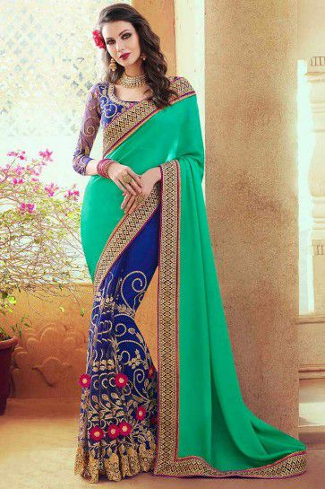 Green Georgette,Satin Saree