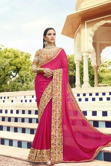 Rose Pink Georgette saree