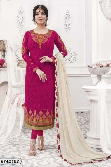 Pink color Georgette Churidar Suit