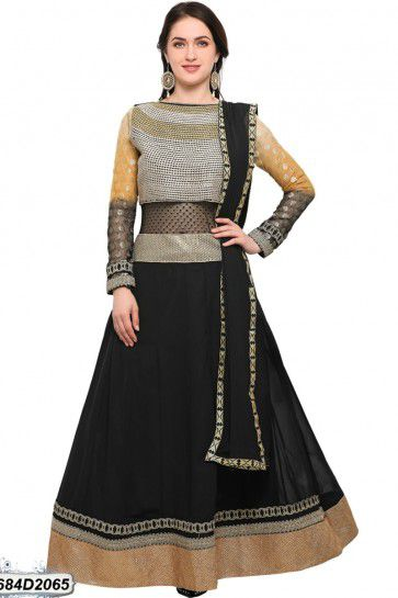 Black color Georgette, Raw Silk Anarkali Suit