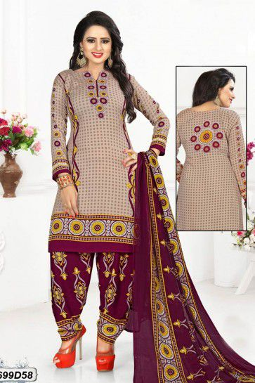 Beige, Multi Crepe Patiala suit