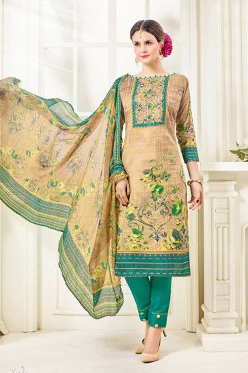 Beige, Multi color Cotton Salwar Kameez
