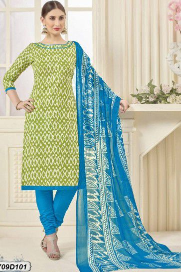 Green, Off White color Poly Cotton Churidar Suit