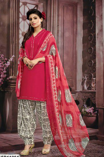 Red (Carrot Red) Cotton Patiala suit