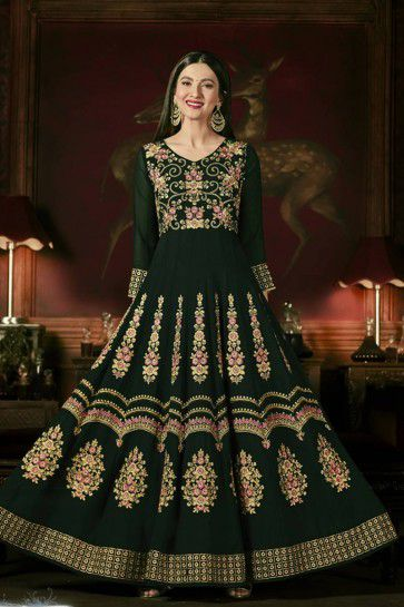 Green color Georgette Anarkali Suit
