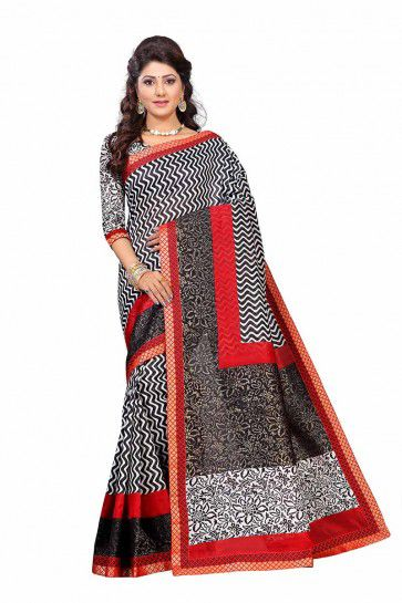 Black & White color Art Silk saree